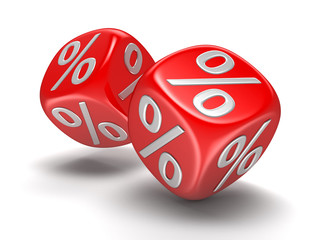 Dices with percent sign. Image with clipping path