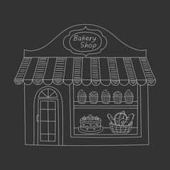 Bakery shop building vector illustration.