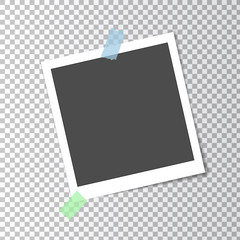 Photo frame retro with shadow on sticky tape on transparent background, vector template