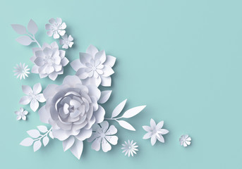 3d illustration, white paper flowers, blue pastel decorative floral background, wedding wall decor