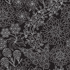 Seamless floral pattern in black and white color