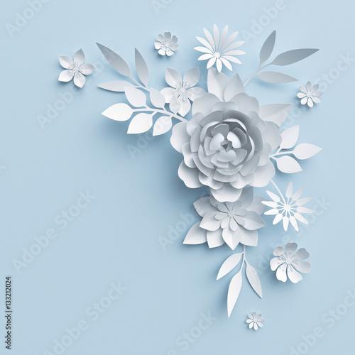 3d illustration white paper flowers blue pastel decorative floral 3d illustration white paper flowers blue pastel decorative floral background wedding wall decor mightylinksfo