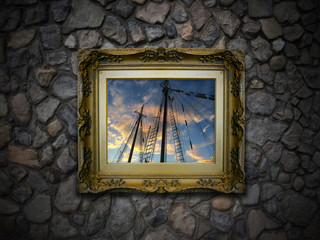 Picture Frame Showing Old Sailboat