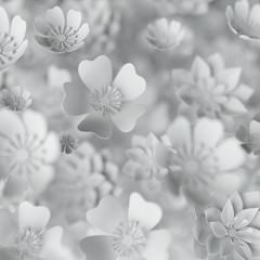 3d odpłacają się, cyfrowa ilustracja, biali papierowi kwiaty, ślubny kwiecisty tło, walentynka dzień