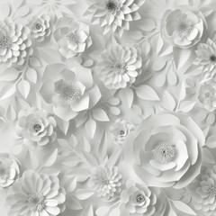 3d render, digital illustration, white paper flowers, wedding floral background, Valentine's day