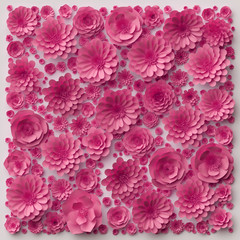 3d illustration, pink paper flowers, floral background, Valentine's day wall decor