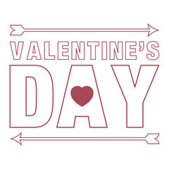 Vector illustration with  Valentines Day  greeting card, red heart and arrows