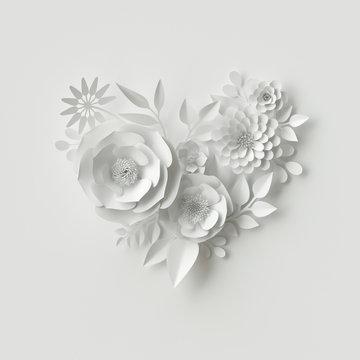 3d render, digital illustration, white paper flowers, wedding floral background, Valentine's day heart