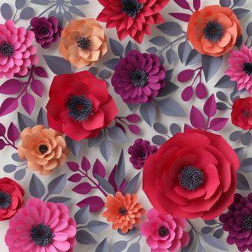 3d render, digital illustration, red pink paper flowers, Valentine's day floral background