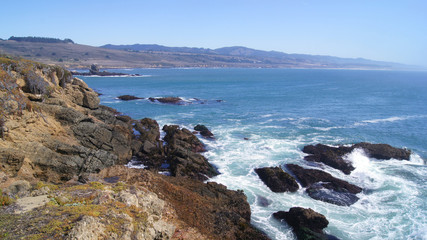 BIG SUR, CALIFORNIA, UNITED STATES - OCT 7, 2014: Cliffs at Pacific Coast Highway Scenic view between Monterey and Pismo Beach in CA along Hwy No 1, USA