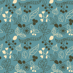 Vector seamless pattern with summer plants, flowers and berries