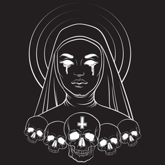 Vector illustration of blind nun with human skull blood and cross made in hand drawn line realistic style. Template for card poster banner print for t-shirt