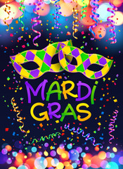 Colorful Mardi Gras poster and flyer template with carnival masks, serpentine and confetti on dark blue background