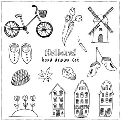 Doodle hand drawn collection of Holland icons. Netherlands culture elements for design. Vector illustration travel objects
