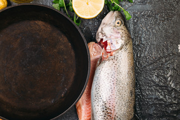 Food background of ingredients for cooking fresh salmon fish around empty pan