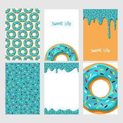 Set of bright food cards. Set of donuts with chocolate glaze. Donut seamless patter