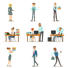 Happy Office Employees And Managers Working In The Office Space On Their Desks And Performing Other Tasks Set Of Illustrations