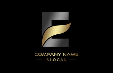 logo letter e line and ribbon in gold and metal color