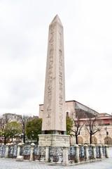 Egyptian Hieroglyphs on the Obelisk of Theodosius at Hippodrome Square in Istanbul, Turkey