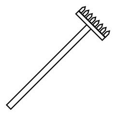 Big rake icon, outline style