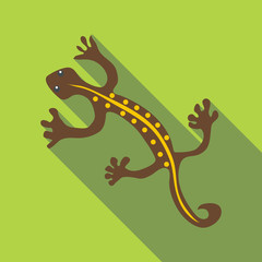 Brown lizard icon, flat style
