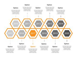 Infogaphic timeline diagram. Progressive years template. Honeycomb polygon form. Vector EPS 10