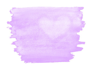 A fragment of a pale lilac watercolor background with the light silhouette of the heart