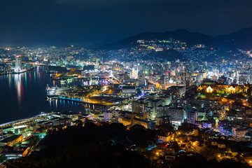 Nagasaki City in japan at night
