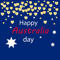 Happy Australia day card on a blue background