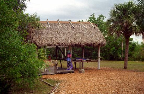 Seminole Indian hut, Florida, USA