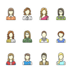 Icon set of different woman character in line style. Female, girl, business woman avatars. Vector illustrations isolated on white background. Set 2