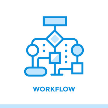 Linear workflow icon for new business. Pictogram in outline style. Vector modern flat icon suitable for print, presentation and website