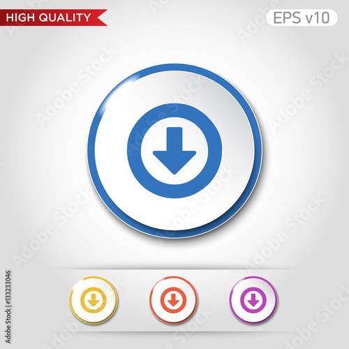 Colored Icon Or Button Of Down Arrow Symbol With Background Stock