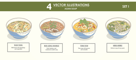 HAND-DRAWN vector illustrations set - asian soup SET1