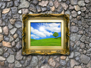 Antique Picture Frame on Stone Wall - Summer Hills
