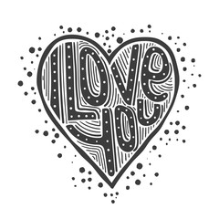 I Love You - Hipster Lettering Inscribed in the Heart. Vector illustration - black on white background.