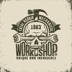 Repair Workshop Logo in Retro Style - Skull with Spanner and a Hammer. Textures and background on separate layers, easily disabled, easy to edit.