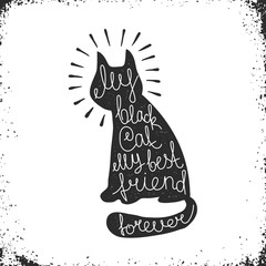 Black Cat Silhouette with Lettering Inside - Hipster Image. Vector Illustration.
