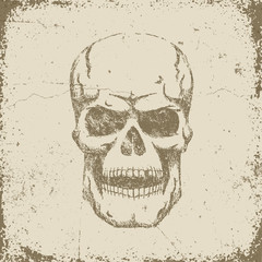 Vintage retro skull in grungy worn style. Textures and background on separate layers.