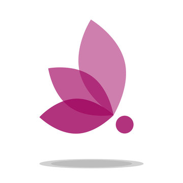 pink transparent butterfly emblem symbol icon vector