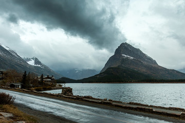 Mountain and lake with stormy sky