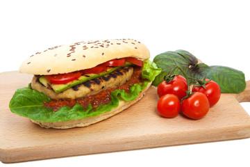 Sandwich on a chopping board.