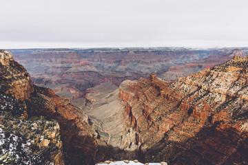 Beautiful view of Grand Canyon at sunset in winter, Arizona, USA