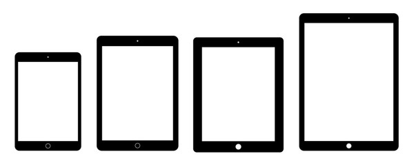 tablet icons set flat style black color isolated on white background. stock vector illustration eps10