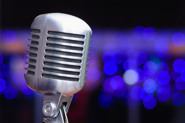 microphone on a background of blue lights
