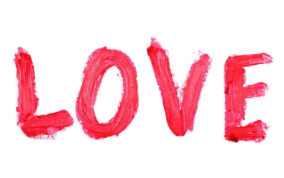 love red color lipstick stroke on white background