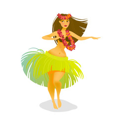 Illustration of a Hawaiian hula dancer woman