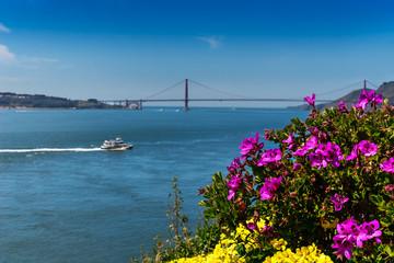 View of the Golden Gate Bridge from the Prisoner Gardens at Alcatraz, San Francisco, California