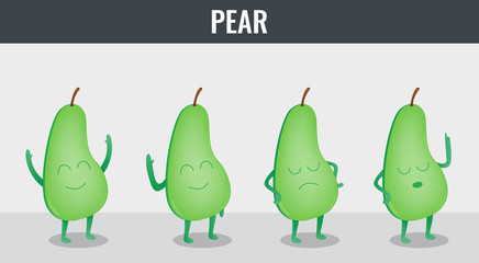 Pear. Funny cartoon fruits. Organic food. Vector