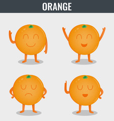 Orange. Funny cartoon fruits. Organic food. Vector